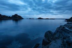 Morning with dramatic sky and dark clouds near the rocky coast of Varvara, Bulgaria Royalty Free Stock Image