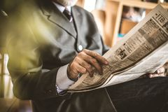 Morning educate. Senior businessmen riding newspaper. Close up i. Mage.Business senior person stock photo