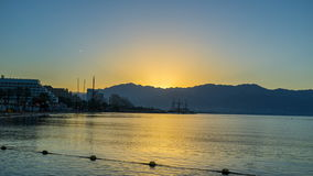The morning in Eilat stock video