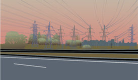 Morning electric line illustration Stock Photo