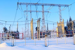 Morning on electro substation. Metal support of substation last highly in the sky Royalty Free Stock Image