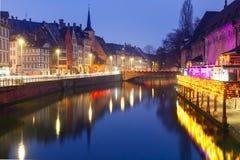 Morning embankment in Strasbourg, Alsace Royalty Free Stock Photo