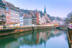 Morning embankment in Strasbourg, Alsace Royalty Free Stock Photos