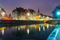 Morning embankment in Strasbourg, Alsace Royalty Free Stock Image