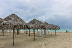 Morning empty beach, Cuba, Varadero Royalty Free Stock Photos