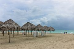 Morning empty beach, Cuba, Varadero Royalty Free Stock Photo