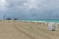 Morning empty beach, Cuba, Varadero Stock Photo