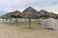 Morning empty beach, Cuba, Varadero Royalty Free Stock Images