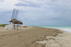 Morning empty beach, Cuba, Varadero Stock Images