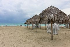 Morning empty beach, Cuba, Varadero Stock Photos