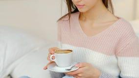 Morning energy hot beverage coffee girl drink. Morning energy boost ritual. hot invigorating beverage. girl drinking coffee at home Royalty Free Stock Photo