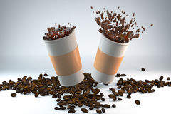 Morning energy of coffee. 3D illustration of two paper cups of coffee with coffee beans Royalty Free Stock Photography