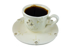 Morning espresso. Cup with coffee. Porcelain, white, decorated with glass stones Stock Photo