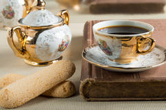 Morning espresso and cookies savoiardi Stock Photography