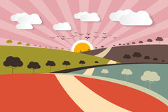 Morning - Evening Rural Paper Vector Landscape Stock Photo