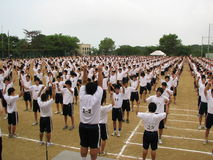 Morning Exercise. Routine performed by senior high school kids in Kobe, Japan Royalty Free Stock Image