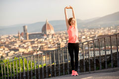 Morning exercise in Florence royalty free stock photography