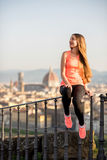 Morning exercise in Florence stock photography