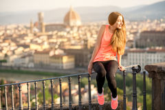 Morning exercise in Florence stock photos