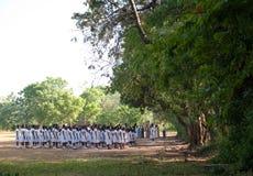 Morning exercise schoolclass. Morning exercise school-class in uniform Sri Lanka Stock Photo
