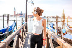 Morning exercise in Venice royalty free stock photos