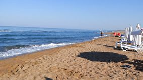 The morning exercises. Morning exercises on the beach Zakharo, Greece stock footage