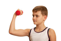 Morning exercises of a boy Royalty Free Stock Image