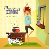Morning Exercises Cartoon Composition. Morning awakening cartoon composition with young girl doing gymnastic fitness exercises to music flat vector illustration Royalty Free Stock Image