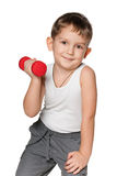 Morning exercises with dumbbells Stock Image