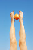 Morning exercises with grapefruit Royalty Free Stock Images