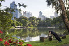 Morning exercises in Lumphini Park, Bangkok, Thailand Royalty Free Stock Photography