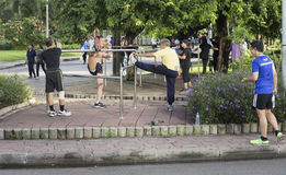 Morning exercises in Lumphini Park, Bangkok, Thailand Royalty Free Stock Photo