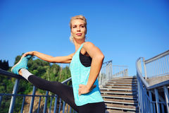 Morning exercises on the steps Royalty Free Stock Photo