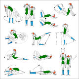 Morning exercises, vector illustration Royalty Free Stock Images