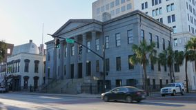 Morning exterior establishing shot US Custom House in Savannah stock video footage