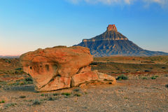 Morning at Factory Butte. Stunning view in the Utah desert, USA Royalty Free Stock Photo
