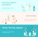 Morning Family And Woman Hygiene Banner Stock Photo