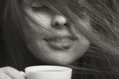Morning fashion portrait of woman with a cup of coffee Stock Images