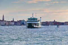 Morning. Ferryboat Metamauco (IMO 9198434) in Venice, Italy. Venice, Italy - August 21, 2015: The ferryboat Metamauco (IMO 9198434) in Grand Canal in Venice in Stock Image