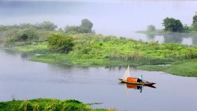 Morning fisherman. I shot the picture at southern Zhejiang Province in China at 2013 royalty free stock images