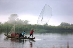 Morning fisherman. At southern Zhejiang Province in China in 2013 Royalty Free Stock Images