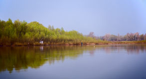 Morning fishing on a beautiful river gum royalty free stock photos