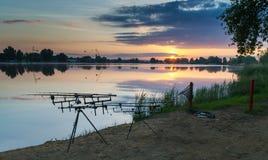 Morning fishing on the lake Stock Photography
