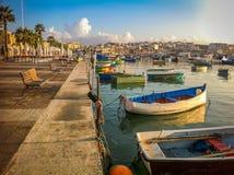 Morning fishing pier, boats Stock Image