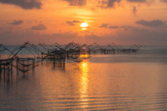 Morning fishnet view. Fisher view to commercial  use big fishnet in lake Stock Photos