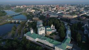 Morning flight over the old Spaso-Preobrazhensky monastery. Yaroslavl, Russia stock footage