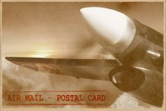Vintage plane. Retro air mail card. Stock Image