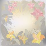 Morning flowers. Decorative background with exotic flowers. Vector illustration Royalty Free Stock Images