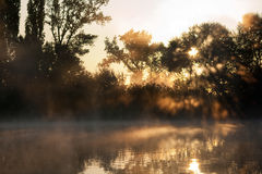 Morning fog. Big fog over the river Royalty Free Stock Image