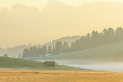 Morning fog in the Alps, Dolomites, Italy Royalty Free Stock Images